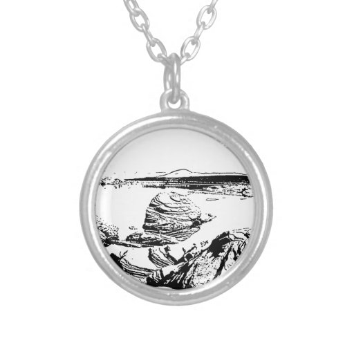 Rocky Lake in Pen and Ink Pendants