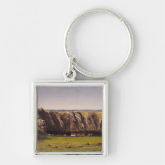 Rocky landscape near Flagey Silver-Colored Square Key Ring