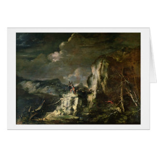 Rocky Landscape with a Huntsman and Warriors (oil Greeting Card