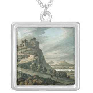 Rocky landscape with castle silver plated necklace