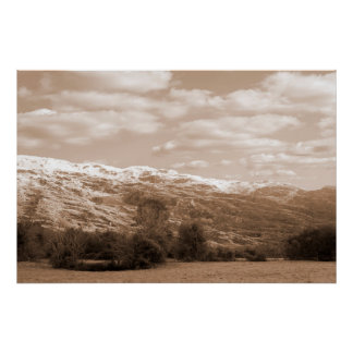 rocky mountain and fields countryside snow scene posters
