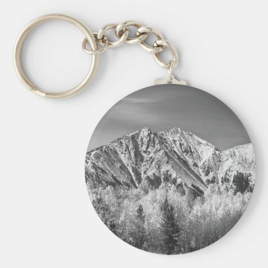 Rocky Mountain Autumn High In Black and White Basic Round Button Key Ring