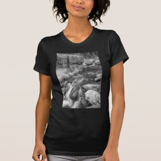 Rocky Mountain Canyon Streaming in Black and White T-shirt