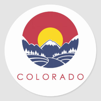 Rocky Mountain Colorado Sunset Logo Round Sticker