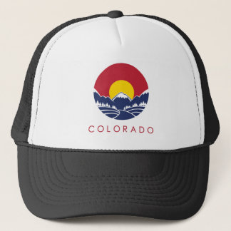 Rocky Mountain Colorado Sunset Logo Trucker Hat