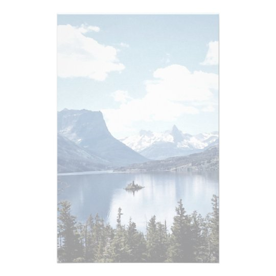 Rocky Mountain lake view, Glacier National Park, M Custom Stationery