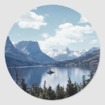 Rocky Mountain lake view, Glacier National Park, M Classic Round Sticker