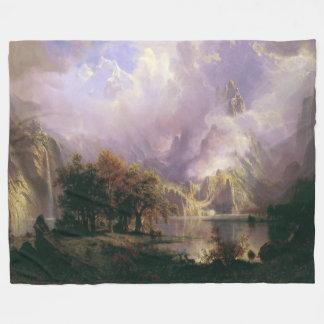 Rocky Mountain Landscape Lake Fleece Blanket