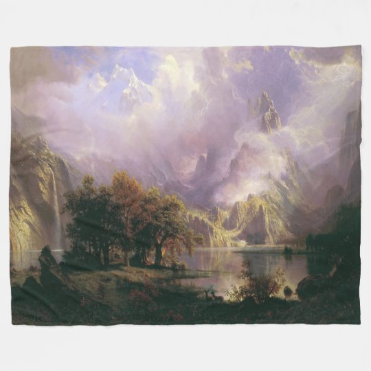Rocky Mountain Landscape Lake Fleece Blanket