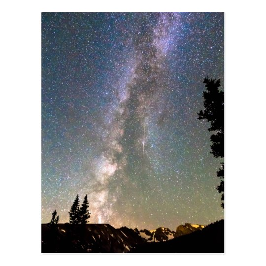 Rocky Mountain Milky Way and Falling Star Postcard