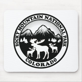 Rocky Mountain Nat Park black white circle Mouse Pads