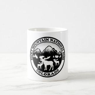 Rocky Mountain Nat Park black white circle Basic White Mug