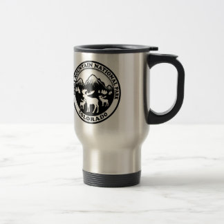 Rocky Mountain Nat Park black white circle Stainless Steel Travel Mug