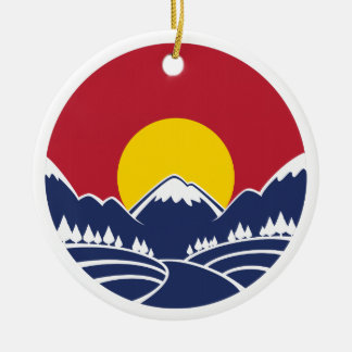 Rocky Mountain Sunset Logo Christmas Ornament