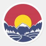 Rocky Mountain Sunset Logo Round Stickers