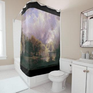 Rocky Mountain Waterfall Deer Lake Shower Curtain