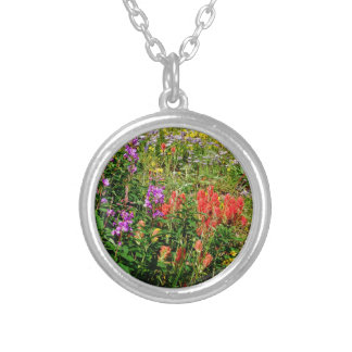 Rocky Mountain Wildflowers Round Pendant Necklace