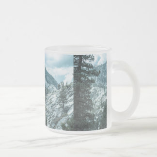 Rocky Mountain With Trees Near Lake Tahoe Frosted Glass Mug
