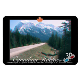 Rocky Mountains Canada 3D Red Cyan Anaglyph Photo Magnet