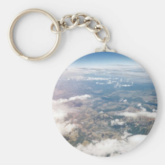 Rocky Mountains from above Basic Round Button Key Ring