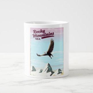 Rocky Mountains USA Vintage travel poster Large Coffee Mug