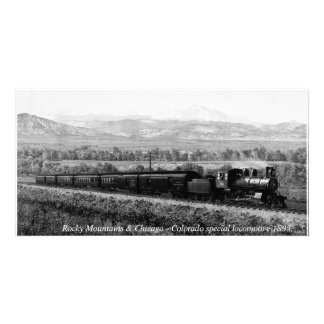 Rocky Mountains, Vintage Colorado Locomotive Personalized Photo Card