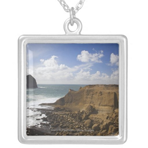 Rocky Oregon Pacific Coast in Pacific City Personalized Necklace