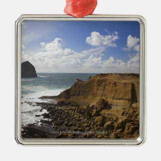 Rocky Oregon Pacific Coast in Pacific City Silver-Colored Square Decoration
