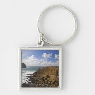 Rocky Oregon Pacific Coast in Pacific City Silver-Colored Square Key Ring