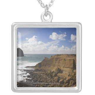 Rocky Oregon Pacific Coast in Pacific City Silver Plated Necklace