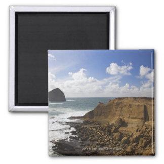 Rocky Oregon Pacific Coast in Pacific City Square Magnet