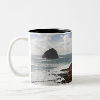 Rocky Oregon Pacific Coast in Pacific City Two-Tone Coffee Mug