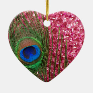 Rocky Pink Peacock Feather Christmas Ornament