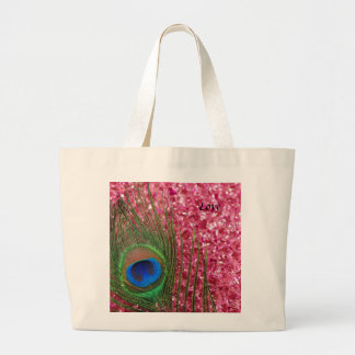Rocky Pink Peacock Feather Jumbo Tote Bag