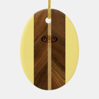 Rocky Point Hawaiian Faux Wood Surfboard Christmas Ornament