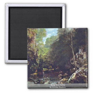 Rocky River Valley By Courbet Gustave Square Magnet