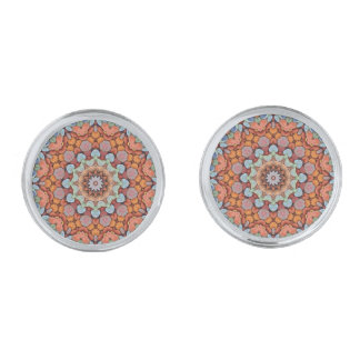 Rocky Roads Colorful Cufflinks, 4 shapes Silver Finish Cufflinks