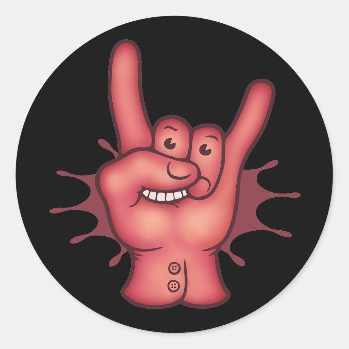 Rocky Rock Hand Round Sticker