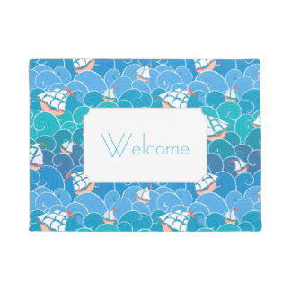 Rocky Sea Pattern | Add Your Text Doormat