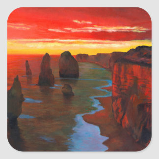Rocky Seashore At Sunset Square Sticker