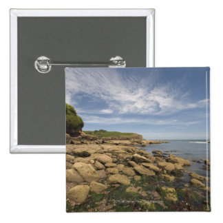 Rocky Seaside With Motorboat Traveling 15 Cm Square Badge