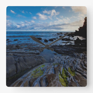 Rocky shore puffy clouds clock