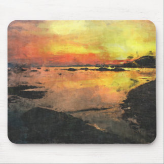 Rocky Shore Sunset Mouse Pads