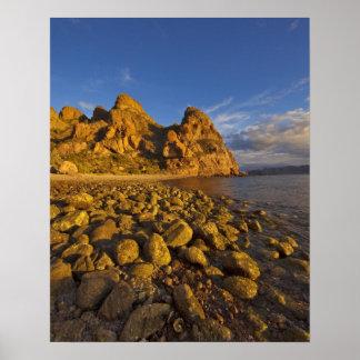 Rocky shoreline on Isla Carmen in the Gulf of Print