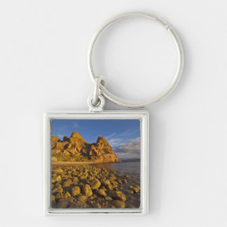 Rocky shoreline on Isla Carmen in the Gulf of Silver-Colored Square Key Ring