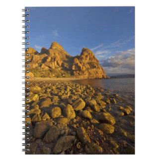 Rocky shoreline on Isla Carmen in the Gulf of Spiral Note Book