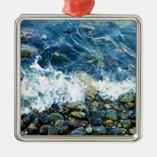 Rocky shoreline Silver-Colored square decoration