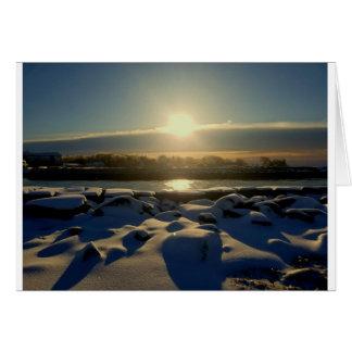 Rocky  snow sunset card