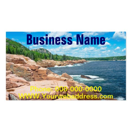 Rocky Summer Seascape Acadia National Park Maine Business Card Template