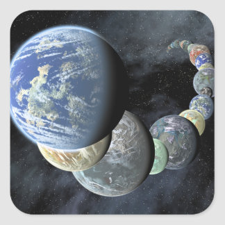 Rocky terrestrial worlds square stickers